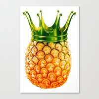 pinapple Canvas Prints featuring kingapple by sustici