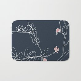 Flora, White and Pink on Navy Blue Bath Mat