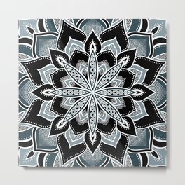 Dark Teal Green Flower Mandala Metal Print
