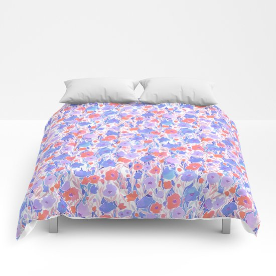 Flower Field Apricot Lilac Comforters