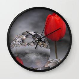 tulip, pebbles and breaking light Wall Clock