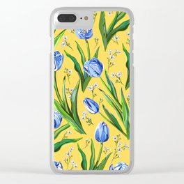 Blue Tulips + Babys Breath | Yellow Clear iPhone Case