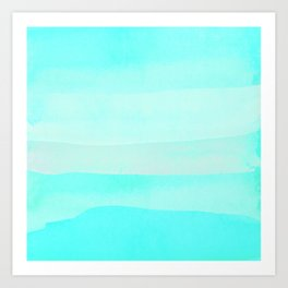 Aqua teal ombre watercolor ocean brushstrokes Art Print