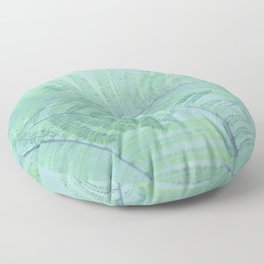 Tree branch with green leaves Floor Pillow
