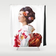 Polygonal Kimono girl 2 Shower Curtain