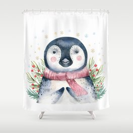Christmas Penguin Shower Curtain