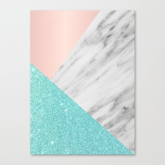 Real Italian Marble with Pink and Blue Canvas Print