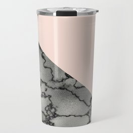 Peach and silver marble metallic Travel Mug