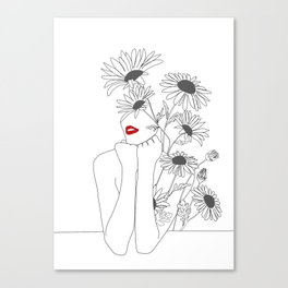 Minimal Line Art Girl with Sunflowers Canvas Print