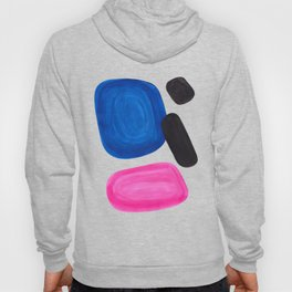 Colorful Minimalist Pop Art Mid Century Modern Style Rose Magenta Phthalo Blue Bubbles Hoody