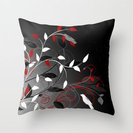 Nature in black, white and red. Throw Pillow
