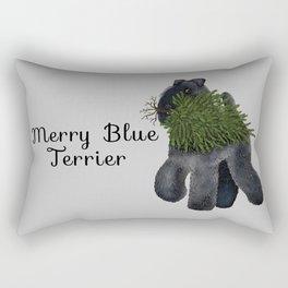 Merry Blue Terrier (Gray Background) Rectangular Pillow