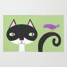 Tuxedo Cat and Purple Bird Rug
