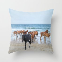 Outer Banks, Corolla, NC, Stallion and his Harem Matted Print Throw Pillow
