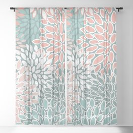 Festive, Floral Prints, Teal and Coral, Abstract Art Sheer Curtain