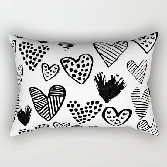 Hearts black and white hand drawn minimal love valentines day pattern gifts decor Rectangular Pillow