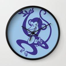 Blue Monkey Wall Clock