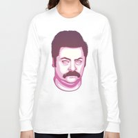 ron swanson Long Sleeve T-shirts featuring Ron Swanson by Kristjan Lyngmo