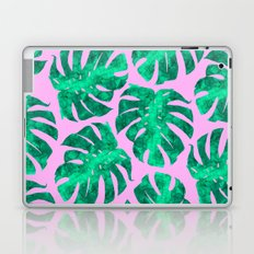 Tropical leaves on pink background Laptop & iPad Skin