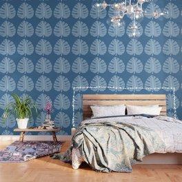 Ocean Beach Theme Palm Leaf Tropical Print Wallpaper