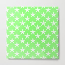 Starfishes (White & Light Green Pattern) Metal Print