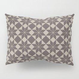 8 Point Star Pattern (Dark Chocolate on Taupe) Pillow Sham
