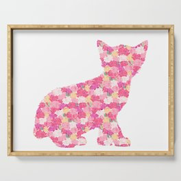Kitten Silhouette with Peony Flowers Inlay Serving Tray