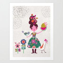 Folk Girl Art Print
