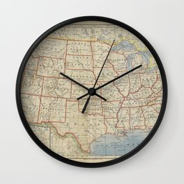 Old and Vintage Map of every States of The United States Of America Wall Clock