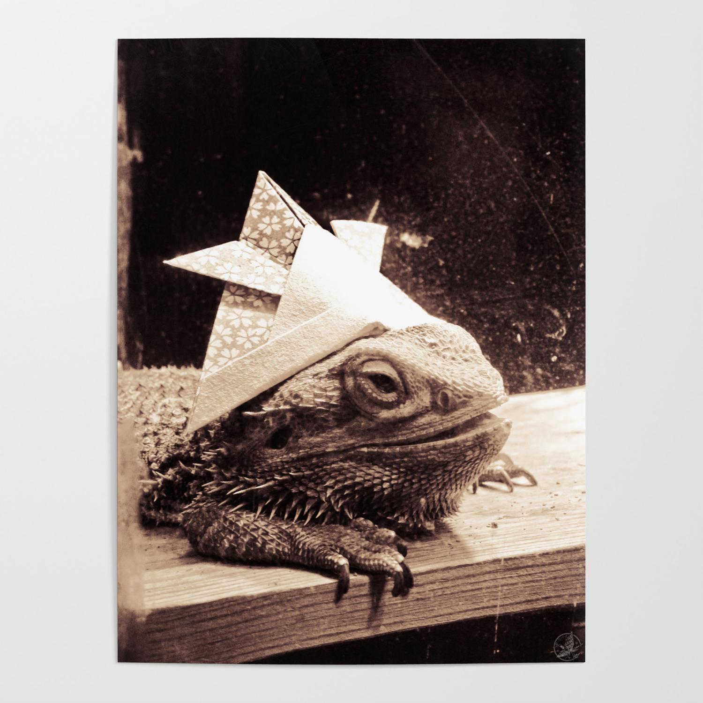 Paper samurai bearded dragon lizard poster