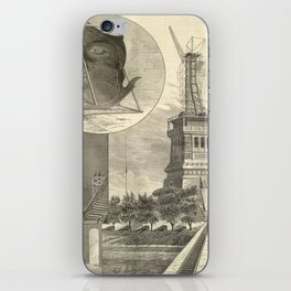 Construction of The Statue of Liberty Illustration iPhone Skin