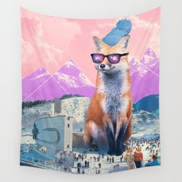 Fox at the rink Wall Tapestry