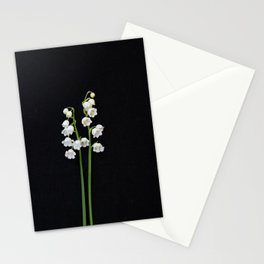 Lily of the Valley pair on Black Fine art floral print Stationery Cards