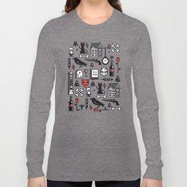 Edgar Poe Pattern Long Sleeve T-shirt