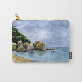 Watercolor Seaside landscape with clouds and stones. Samui Carry-All Pouch