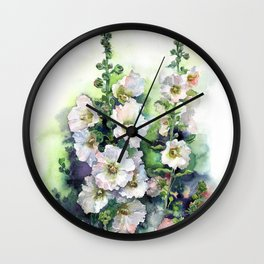 Watercolor Hollyhocks white flowers Wall Clock