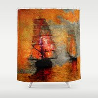 boats Shower Curtains featuring melancholic boats by Ganech joe