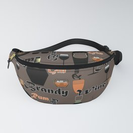 Abstract holiday gift pattern for men . Drinks . bar . Fanny Pack