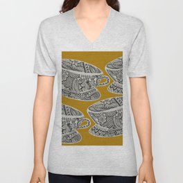 Morning Cuppa! - tea coffee lover zentangle Unisex V-Neck