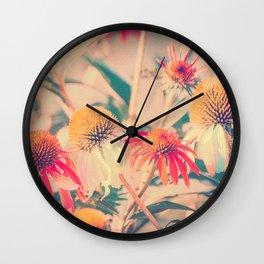 Summer Cone Flowers Echinacea Scenic Botanical Wall Clock