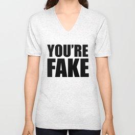 YOU'RE FAKE Black Unisex V-Neck