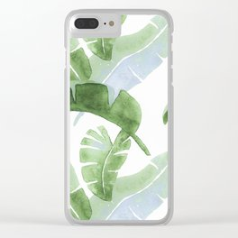Tropical Leaves Green And Blue Clear iPhone Case