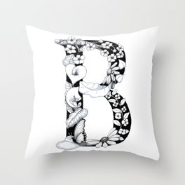 Floral Pen and Ink Letter B Throw Pillow