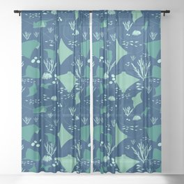 Stingrays Manta Rays Coral Reef Pattern Sheer Curtain