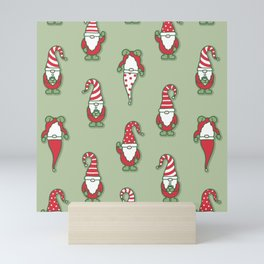 North Pole Gnomes (Green) Mini Art Print