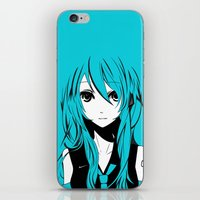 vocaloid iPhone & iPod Skins featuring Miku in a stream of colors by DPain