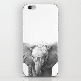 Black and White Baby Elephant iPhone Skin