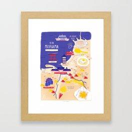 Miyajima map Framed Art Print