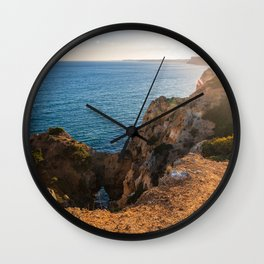 Sunset along cliffs of Ponta da Piedade, Algarve - Portugal Wall Clock