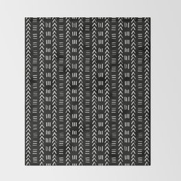 Mudcloth No.2 in Black + White Throw Blanket